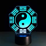 3D Illusion Night Light LEDPredicción china Feng Shui Taiji Bagua Lámpara Yin Yang Tai Chi Lámpara de mesa para el hogar