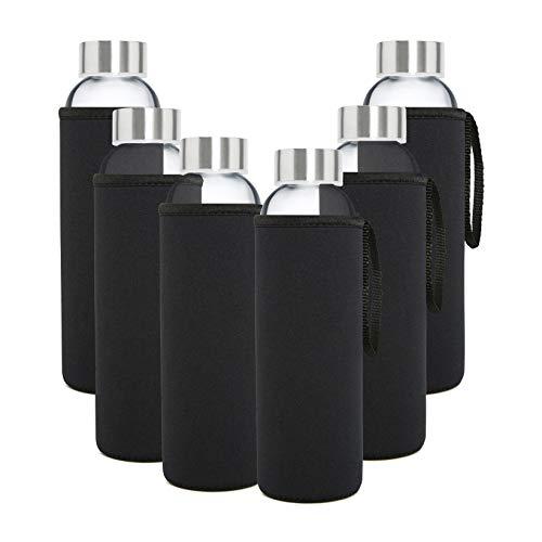 Glasflasche Trinkflasche 6er Set Mit Nylon Schutzhüllen Wasserflaschen für Smoothies Säfte Tee Wasser und andere Getränke BPA Frei Luftdichte Trinkflaschen für Erwachsene & Kinder 6 x 500 ml