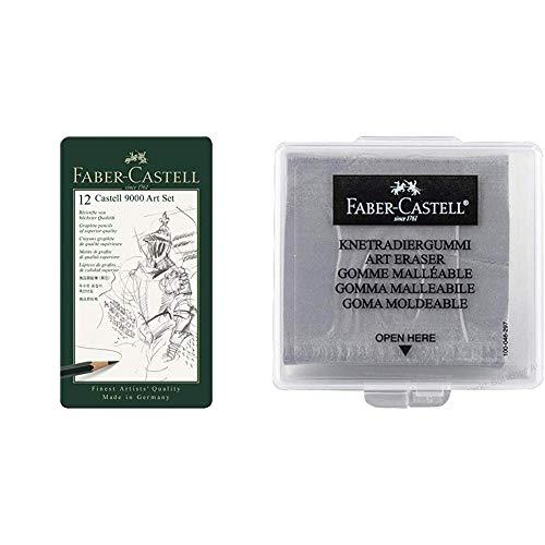 Faber-Castell 119065 - Bleistift Castell 9000, 12er Art Set & 127220 - Knetradiergummi Art Eraser, grau