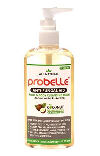 Probelle Sapone antifungino di cartamo e olio di cocco puro con protezione antimicrobica. Aiuta le aree della pelle colpite. 9,5 once/280 ml