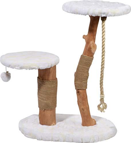 """Design-Kratzbaum \""""Holly\"""" mit Naturstämmen und Spielball, Katzenmöbel mit zwei Liegeflächen, 60 x 40 x 86 cm, weiß"""