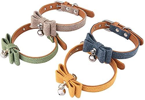 Collier pour animaux de compagnie -4pcs feutre en tissu en tissu pour animaux de compagnie chaîne adorable collier ajustable couteau à cou pour chiens de chat pour animaux de compagnie collier pour ch