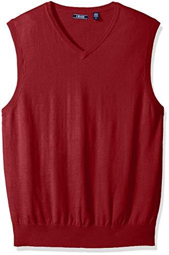 IZOD Men's Premium Essentials Solid V-Neck 12 Gauge Sweater Vest, Biking Red, Medium