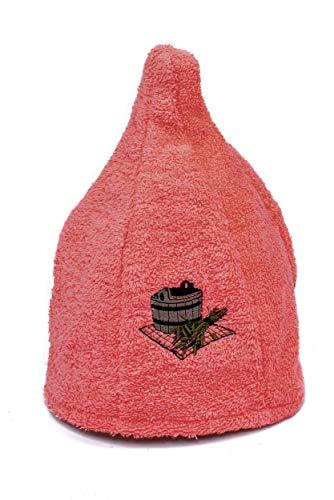 Ger3as 6 Farben Saunahut Damen und Herren 100% Baumwolle mit Stickerei, Wellness Mütze Premium Qualität (Pfirsich)