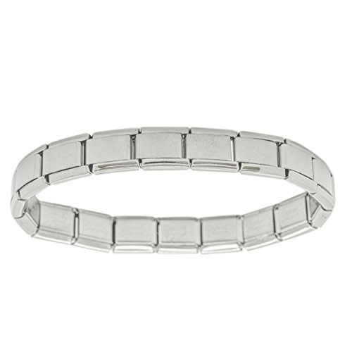 18 Link Shiny Classic Size Italian Charm Stainless Steel Starter Bracelet Fits all 9mm Italian Style Charm Bracelets