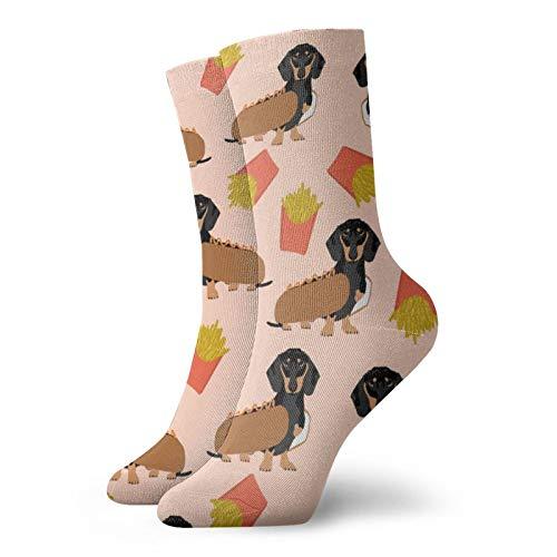 Doxie Winer Dog Hot Dog y papas fritas disfraz de perro lindo para hombre calcetines de compresin calcetines divertidos calcetines de tobillo
