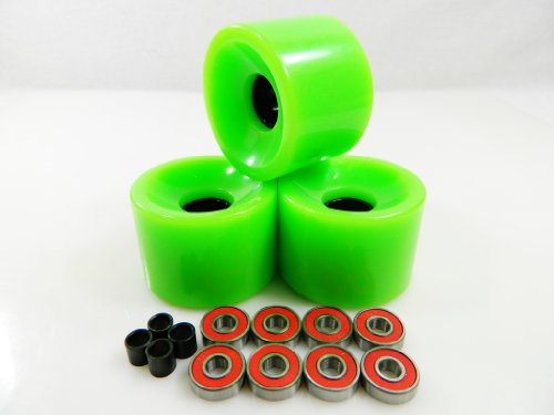 70mm Longboard Skateboard Wheels + ABEC 7 Bearings Spacers (Gel Smoke)