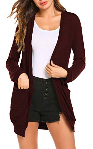 SimpleFun Womens Basic Long Sleeve Long Open Front Cardigans with Pockets (S, Wine Red)