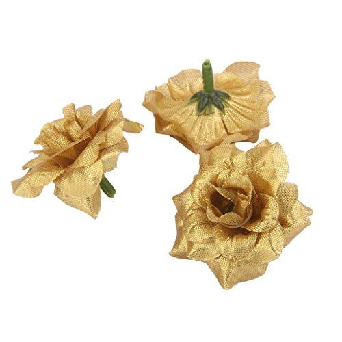 50 Stk. Seide Rosen Künstliche Braut Clips Hochzeit Dekoration Blumenköpfe (Golden)