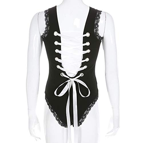 YUYAOBING Sexy Dessous Spitze Spitze Passion Strap Sexy Open Crotch Dark Buckle Jumpsuit New Back Lace Stitching