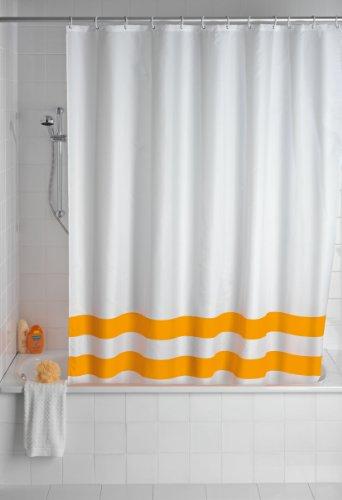 WENKO 20582100 Duschvorhang Tropic Light Orange - waschbar, mit 12 Duschvorhangringen, Kunststoff - Polyester, Weiß