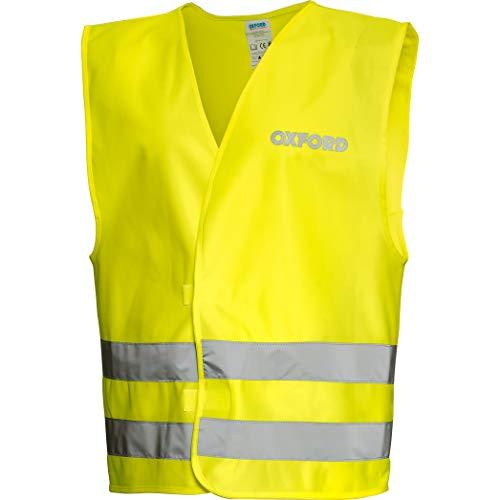 Oxford Sicherheitsweste Warnweste Motorrad Fahrrad gelb Warnweste Kompakt Neongelb L/XL, Unisex, Multipurpose, Ganzjährig, Textil