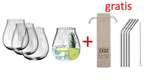 Riedel O 5515/67 Gin Tonic Optical Gläser Set 4 Stück + Gratis 4er Set EKM Living Edelstahl Strohhalme (Silber)