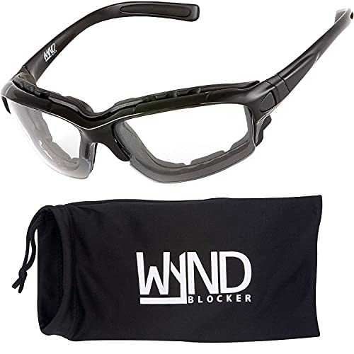 WYND Blocker Motorcycle Riding Glasses Extreme Sports Wrap Sunglasses, Black, Clear
