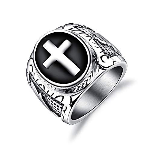 OIDEA - Anillo de hombre con cruz cristiana y oración de compromiso de acero inoxidable plateado y negro, tamaño a elegir