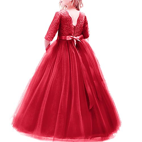 Girl Long Sleeve Vintage Lace Tutu Princess Pageant Cocktail Dresses Kids Prom Ball Gown Wedding Junior Bridesmaid 4-14 Years B Red 9-10 Years