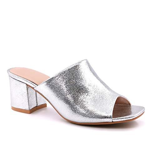 Angkorly - Chaussure Mode Mule Sandale Slip-on Chic soirée Femme Brillant Effet Craquelé Fantaisie Talon Bloc 6 CM - Argent - LX-62 T 40