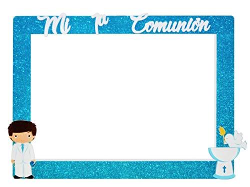Photocall Comunión de Corcho con Purpurina Modelo a Elegir. Regalos Originales. Decoración para Fiestas de Cumpleaños, Bodas, Bautizos, Comuniones y Eventos.120x90 cm. (AZUL NIÑO)