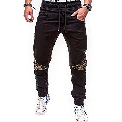 LuckyGirls Pantalones Hombres Chandal Camuflaje Patchwork Color de Hechizo Casuales Slim Fit Playa Ajustable Pantalón de Deporte de Lazo (3XL, Negro)