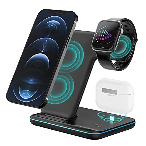 POWERGIANT Cargador Inalámbrico, 3 en 1 Estacion de Carga Rápida QI 15W para iwatch Series 6 5 4 3 2 Airpord Pro 1 2 iPhone12 iPhone11 Pro MAX XS MAX XR X 8 Plus Samsung S10 S9 S8