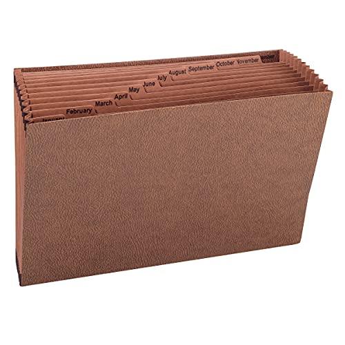 Jan-Dec Open Expanding File, 12 Pocket, Legal, Leather-Like Redrope