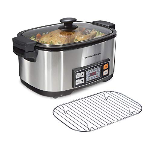 Hamilton Beach 9-in-1 Multicooker Slow Cooker for Sear, Saute, Steam, Rice 6qt Nonstick Crock, Digital Electric, Stainless Steel (33065)