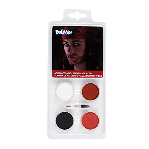 Pirate Face Painting Palette Kit Aqua Jack Captain Caribbean Pirates Fancy Dress Up Easy New by BOLAND BV