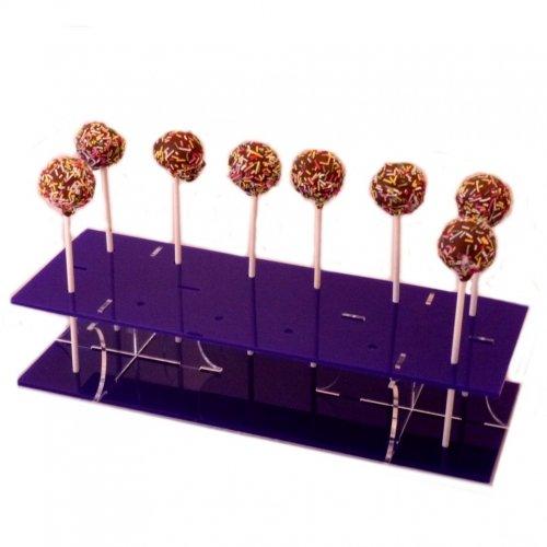 Super Cool Creations 31 x 13 cm 6,5 cm de Haut Rectangle Support pour Cake Pops en Acrylique avec 12 Trous 5 cm Apart, Violet