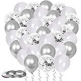 60 Stück Luftballons Silber, Helium Ballons Silber Konfetti Luftballons Metallic Heliumballons Hochzeitsballons für Silberhochzeit