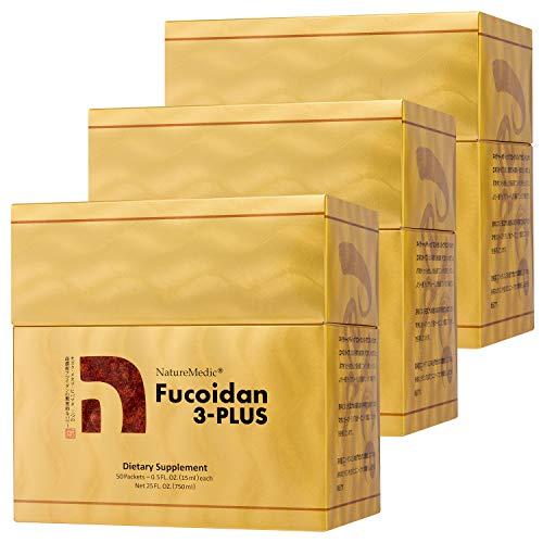 NatureMedic Fucoidan 3-Plus Brown Seaweed Immunity Supplement with Three Types of High Purity Fucoidan Organic Mekabu Fucus Mozuku Agaricus 50 Liquid Packets/Box Made in Japan (3 Boxes)