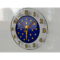 FanPlastic States and Territories of The USA Wall Clocks - Brand New and Unique Circular State Flag Designs - Size 12 X 12 X 2 !! (Indiana Flag Wall Clock)