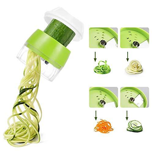Miuphro Spiralizzatore di Verdure, Taglia verdure a spaghetti, 4 in 1 Multifunzione Affetta Verdure Pelaverdure per Zucchine, Carota, Cetriolo, Patate, Zucca e Cipolla