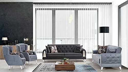 Set divani: due divani letto a tre posti con sistema clic clac e due poltrone; microfibra grigio chiaro e grigio scuro, ideale per hall alberghi e zone living.
