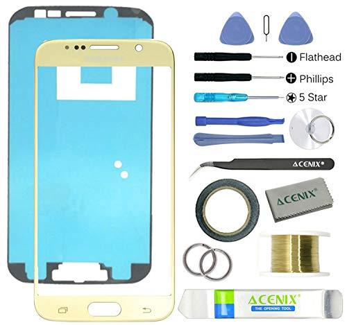 Acenix® - Kit di riparazione per schermo anteriore in vetro di ricambio per Samsung Galaxy S6, colore: Oro
