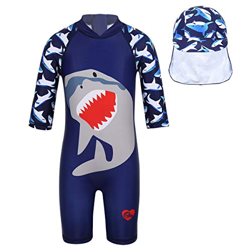 TiaoBug Baby Boys Girls Short Sleeve One-Piece Rash Guard Shirts Zippered Striped Swimsuit Swimwear UPF 50+Sunsuits Navy Blue (with Swimming Cap) 3-4