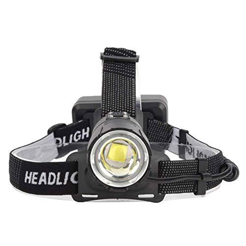 Linterna Frontal de luz Fuerte, Linterna Frontal P70 con Zoom, Carga USB Ligera de 4000 LM, pequeña para Acampar al Aire Libre