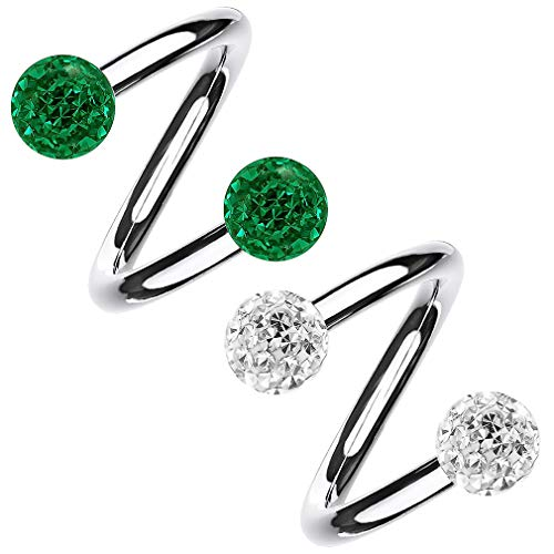 Bling Piercing 2pc 1.2mm 16g 1.2mm Sparkly Crystal Spiral Barbell Cartilage Earring Surgical Steel Twister Spiral Lip Ring 8mm - Emerald