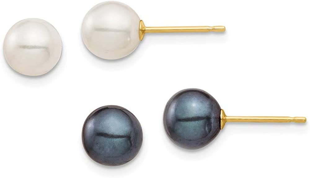 Solid 14k Yellow Gold 6-7mm White and Black Round Freshwater Cultured Pearl 2 pair Stud Post Earrings Set mm