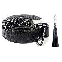 ショルダー ストラップ PU バッグ用 付け替え ライチ粒 調節可能 黒 広い1.8 cm (黒バックル)