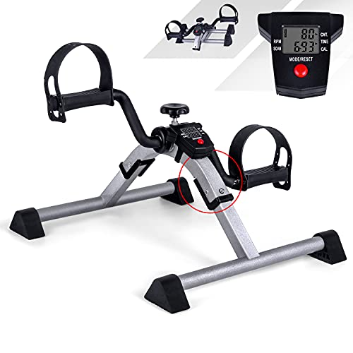Foldable Mini Pedal Exerciser with LCD Screen Display, Mini Exercise Bikes, Hand Arm and Leg Exerciser, Adjustable Resistance for Home Fitness Gym Work Out, Aerobic Trainer, Rehabilitation