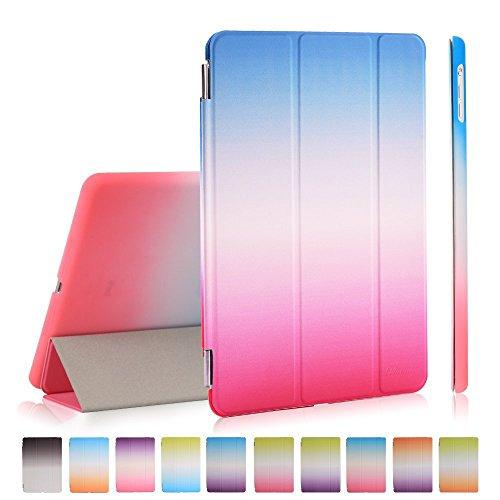 Custodia per iPad Mini 1/2/3, Deenor Rainbow Colour Series Smart Cover Transparent Back Cover Ultra Sottile e Leggero Auto Sonno / Sveglia la Funzione protettivo Custodia Cover per Apple iPad Mini 1/2/3 Generation. (Sky blue and pink)