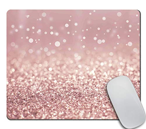 Amcove Rose Gold Rainbow Glitter Gaming Mouse Pad Custom Design,Fashion Non-Slip Rubber Square Mousepad for Gift Support Computers Laptop 9.5 X 7.9 Inch (240mmX200mmX3mm)