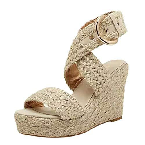 Fannyfuny_Zapatos de Verano Sandalias Mujer Sandalias de Tacón Sandalias de Vestir Sandalias Mujer Cuña Sandalias con Cuña Tacón Plataforma Alta con Tira Ancha Zapatos de Tacón