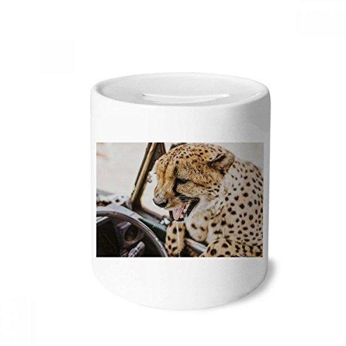 DIYthinker Terrestrial Organismus Wildtier Leopard-Geld-Kasten Sparkassen Keramik Münzfach 3.5 Zoll in Height, 3.1 Zoll in Duruchmesser Mehrfarbig