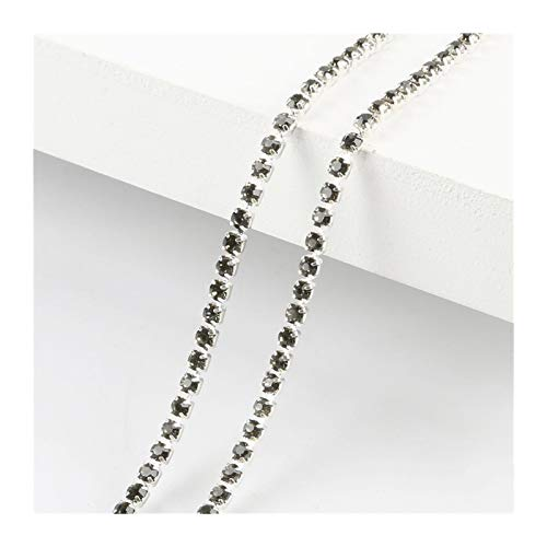 XIAOXINGXING 1M/lot High Density Flatback Rhinestone Chain Sew-On Glue-On Ss6/ss8/ss10/ss12 Silver Base Rhinestone Trim DIY Decor Accessories (Color : 23, Size : SS8 2.5mm)