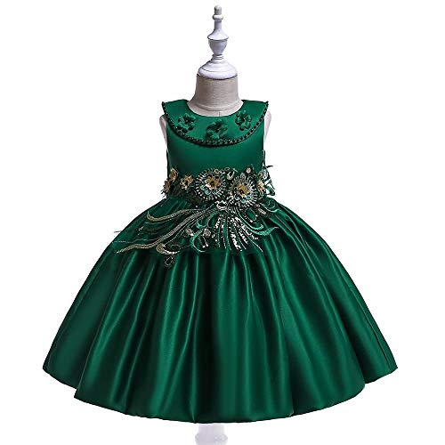 Manson Chicas Bowknot Princess Vestido Satin Flower Girl Body Disfraz Piano Performance Ropa 4-12YEARS 2021 ms Reciente (Color : Green, Size : 4-5T)