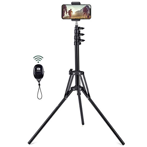 "Selfie Stick Tripod, 63"" Extendable Tripod Stand with Wireless Remote for iPhone & Android Phone, Camera, Metal Lightweight - Black"