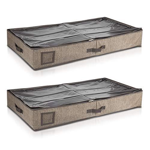 Navaris 2X Organizador para Debajo de la Cama - Cajas organizadoras para Guardar Ropa y Zapatos - Cajón Cierre y 2 Compartimentos marrón