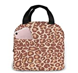 Miami Cocoa Leopard Brown Animal Print Bolsa de almuerzo para mujeres,niñas,niños,bolsa de picnic aislada Gourmet Tote Cooler,bolsa cálida para trabajo escolar,oficina,camping,viajes,pesca
