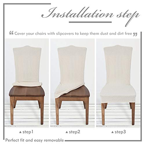 Chair Covers for Dining Room Set of 6 Ivory Stretch Slipcovers Parsons Chairs Covers Kitchen Chair Covers